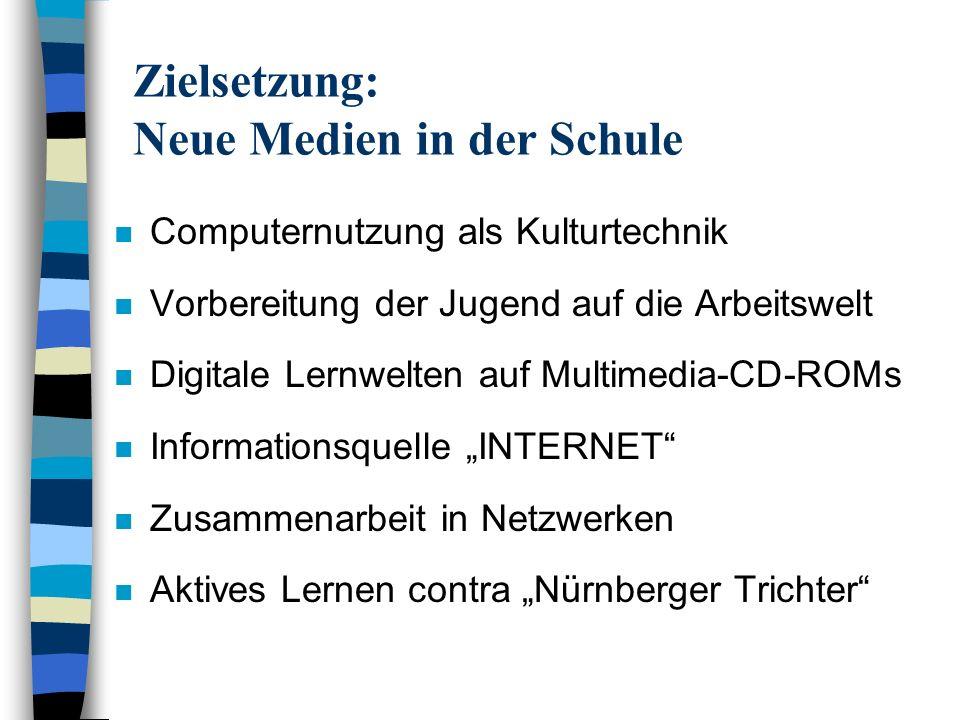 Zielsetzung: Neue Medien in der Schule n Computernutzung als Kulturtechnik n Vorbereitung der Jugend auf die Arbeitswelt n Digitale Lernwelten auf Mul