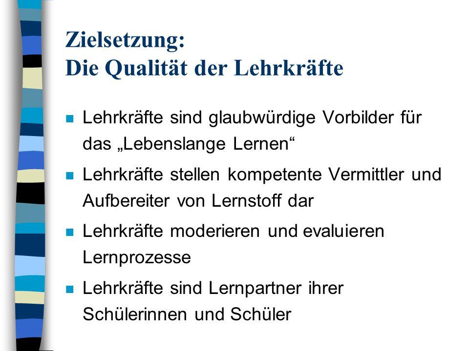 Zielsetzung: Die Qualität der Lehrkräfte n Lehrkräfte sind glaubwürdige Vorbilder für das Lebenslange Lernen n Lehrkräfte stellen kompetente Vermittle
