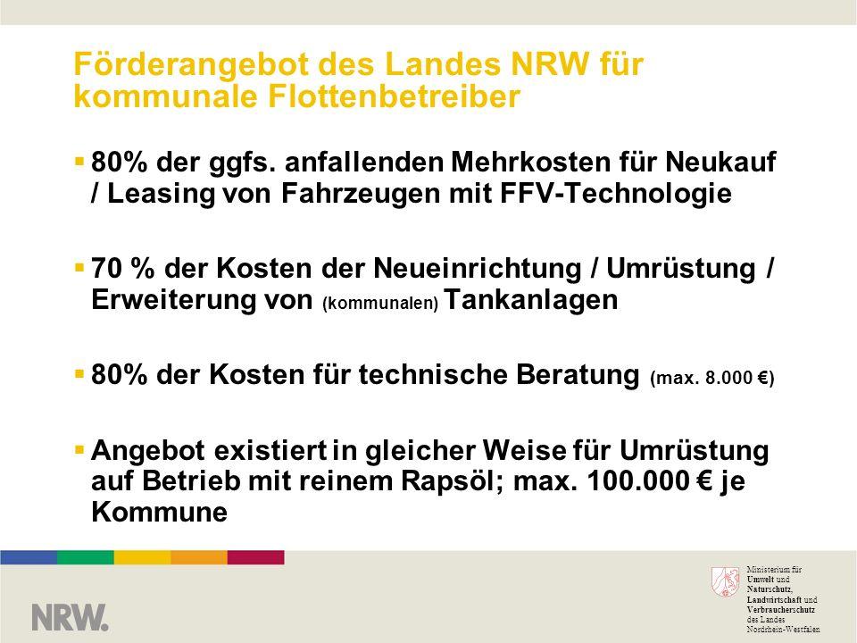 Ministerium für Umwelt und Naturschutz, Landwirtschaft und Verbraucherschutz des Landes Nordrhein-Westfalen Förderangebot des Landes NRW für kommunale