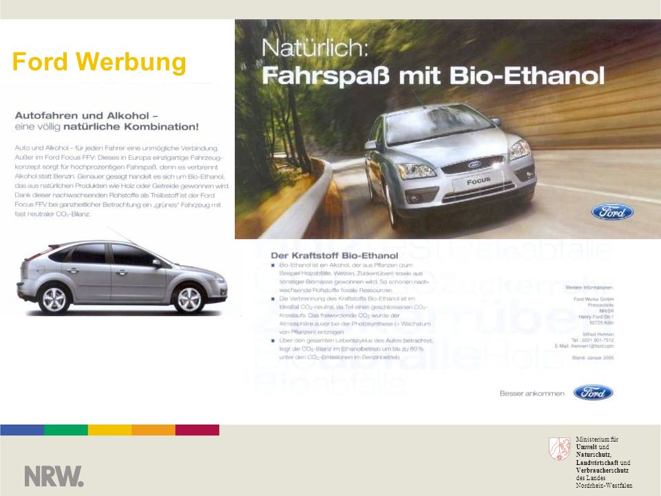Ministerium für Umwelt und Naturschutz, Landwirtschaft und Verbraucherschutz des Landes Nordrhein-Westfalen Ford Werbung