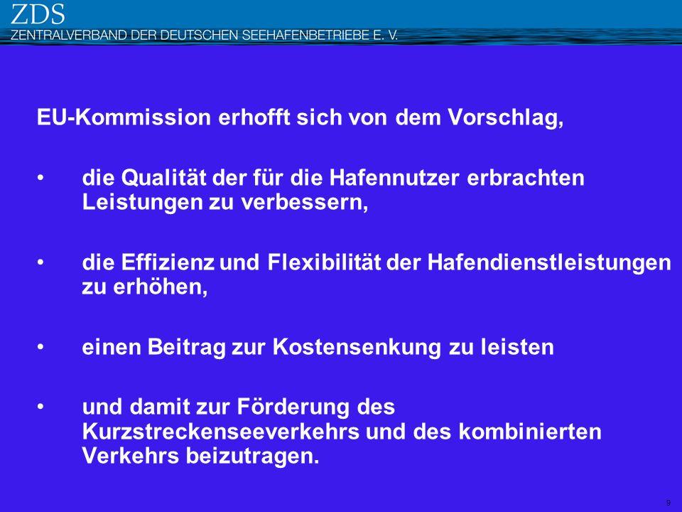 EU-Kommission erhofft sich von dem Vorschlag, die Qualität der für die Hafennutzer erbrachten Leistungen zu verbessern, die Effizienz und Flexibilität