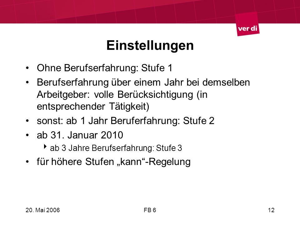 20. Mai 2006FB 612 Einstellungen Ohne Berufserfahrung: Stufe 1 Berufserfahrung über einem Jahr bei demselben Arbeitgeber: volle Berücksichtigung (in e