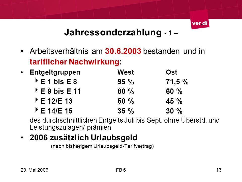20. Mai 2006FB 613 Jahressonderzahlung - 1 – Arbeitsverhältnis am 30.6.2003 bestanden und in tariflicher Nachwirkung: EntgeltgruppenWestOst E 1 bis E