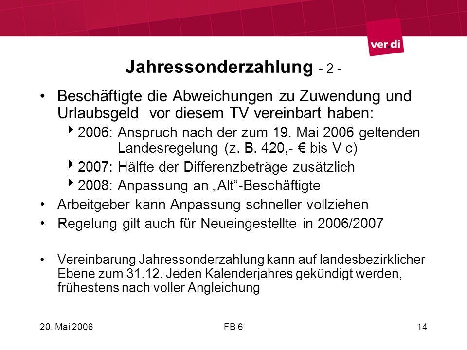 20. Mai 2006FB 614 Jahressonderzahlung - 2 - Beschäftigte die Abweichungen zu Zuwendung und Urlaubsgeld vor diesem TV vereinbart haben: 2006: Anspruch