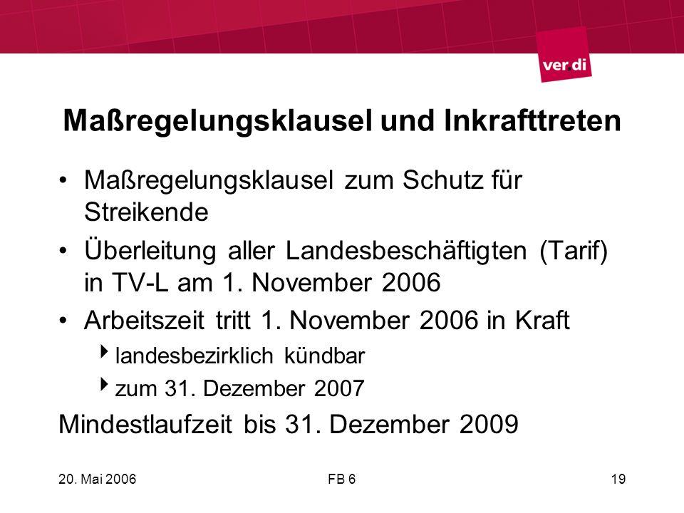 20. Mai 2006FB 619 Maßregelungsklausel und Inkrafttreten Maßregelungsklausel zum Schutz für Streikende Überleitung aller Landesbeschäftigten (Tarif) i