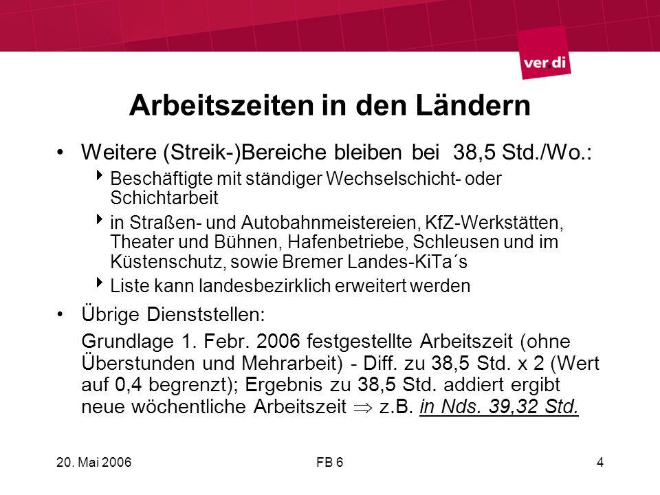 20. Mai 2006FB 64 Arbeitszeiten in den Ländern Weitere (Streik-)Bereiche bleiben bei 38,5 Std./Wo.: Beschäftigte mit ständiger Wechselschicht- oder Sc