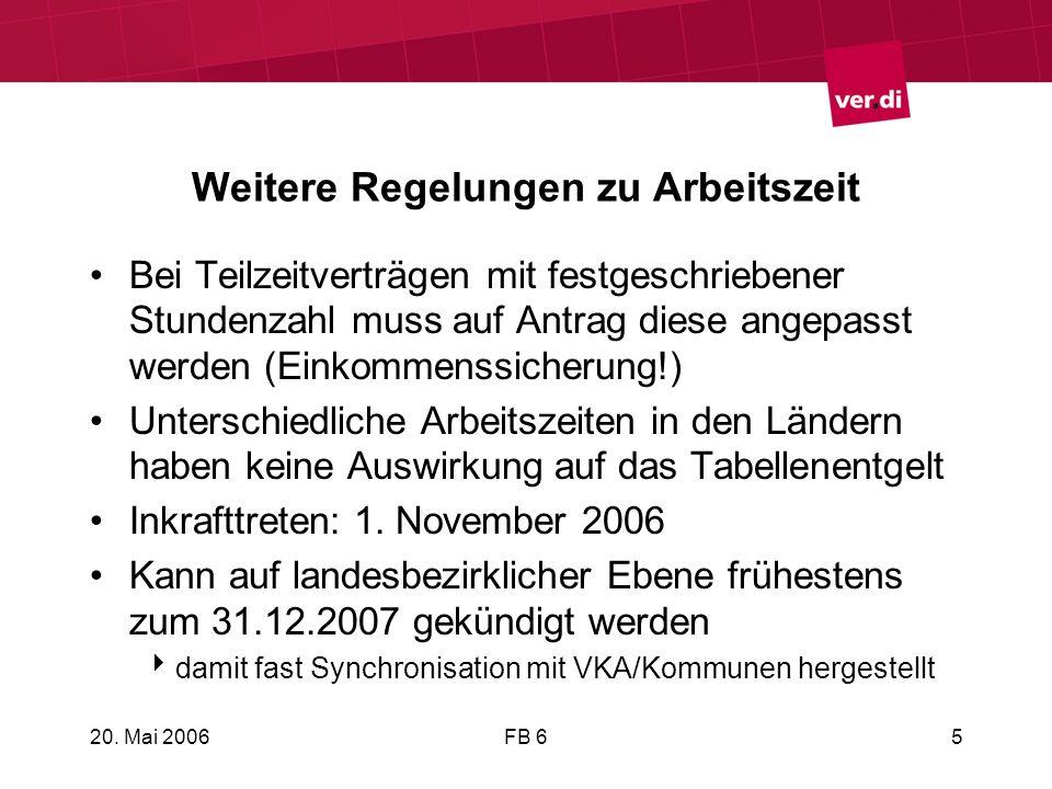 20. Mai 2006FB 65 Weitere Regelungen zu Arbeitszeit Bei Teilzeitverträgen mit festgeschriebener Stundenzahl muss auf Antrag diese angepasst werden (Ei