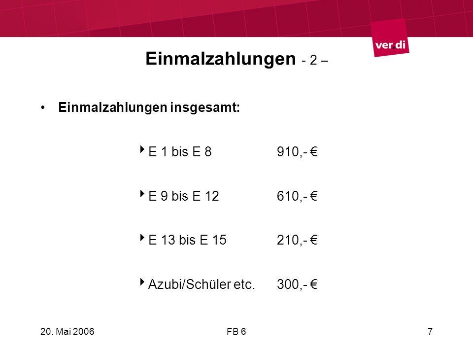 20. Mai 2006FB 67 Einmalzahlungen - 2 – Einmalzahlungen insgesamt: E 1 bis E 8910,- E 9 bis E 12610,- E 13 bis E 15210,- Azubi/Schüler etc.300,-