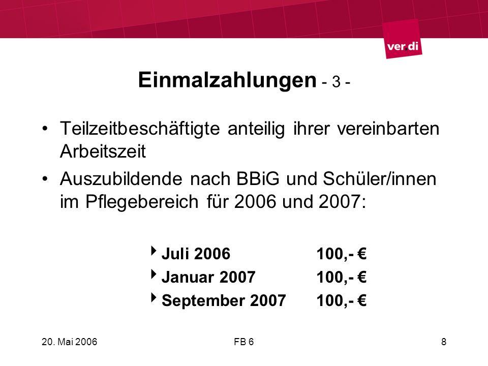 20. Mai 2006FB 68 Einmalzahlungen - 3 - Teilzeitbeschäftigte anteilig ihrer vereinbarten Arbeitszeit Auszubildende nach BBiG und Schüler/innen im Pfle