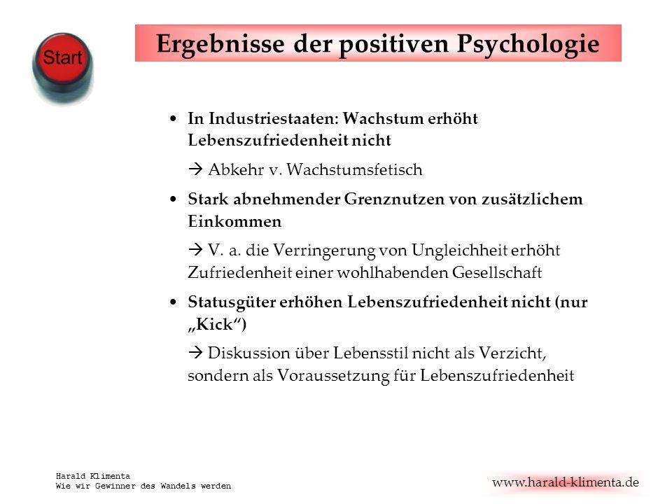 www.harald-klimenta.de Harald Klimenta Wie wir Gewinner des Wandels werden Ergebnisse der positiven Psychologie In Industriestaaten: Wachstum erhöht L