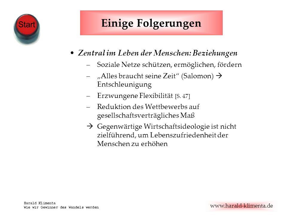 www.harald-klimenta.de Harald Klimenta Wie wir Gewinner des Wandels werden Einige Folgerungen Zentral im Leben der Menschen: Beziehungen –Soziale Netz