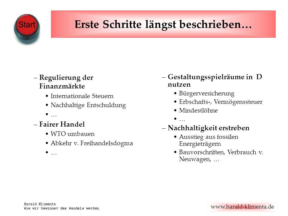 www.harald-klimenta.de Harald Klimenta Wie wir Gewinner des Wandels werden Erste Schritte längst beschrieben… –Regulierung der Finanzmärkte Internatio