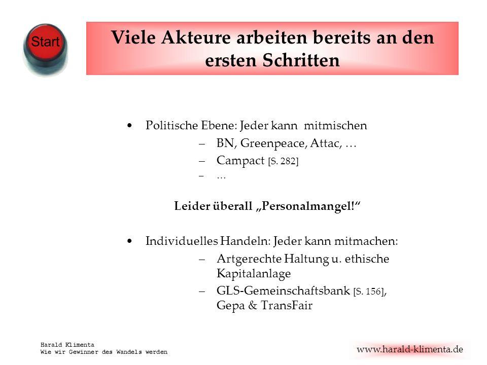 www.harald-klimenta.de Harald Klimenta Wie wir Gewinner des Wandels werden Politische Ebene: Jeder kann mitmischen –BN, Greenpeace, Attac, … –Campact