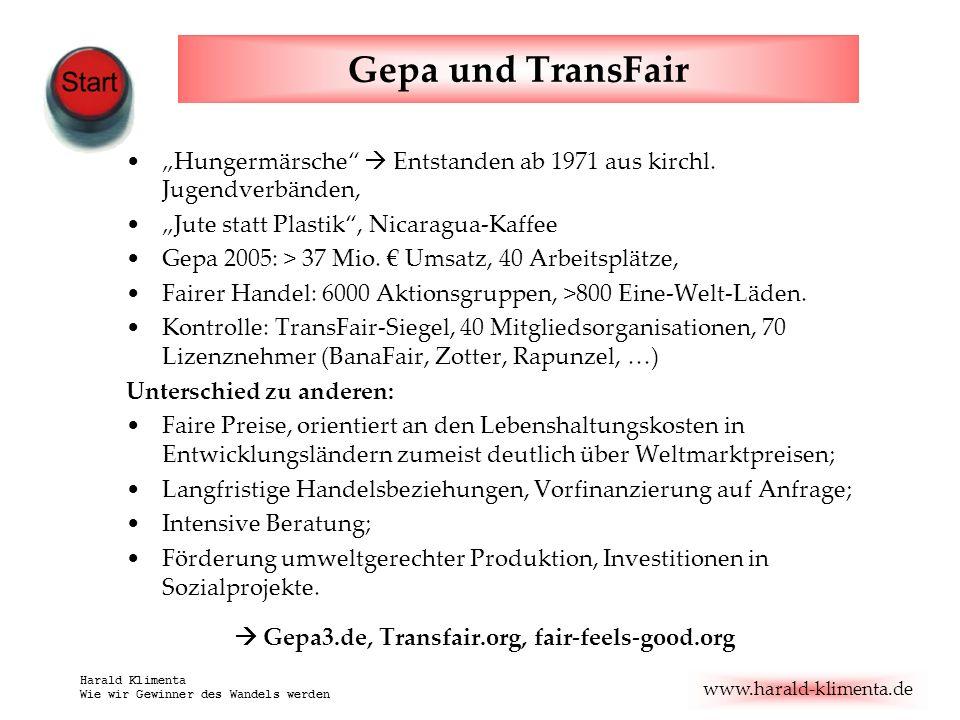 www.harald-klimenta.de Harald Klimenta Wie wir Gewinner des Wandels werden Gepa und TransFair Hungermärsche Entstanden ab 1971 aus kirchl. Jugendverbä