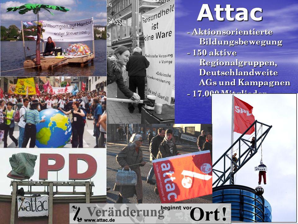 Attac - Aktionsorientierte Bildungsbewegung - 150 aktive Regionalgruppen, Deutschlandweite AGs und Kampagnen - 17.000 Mitglieder