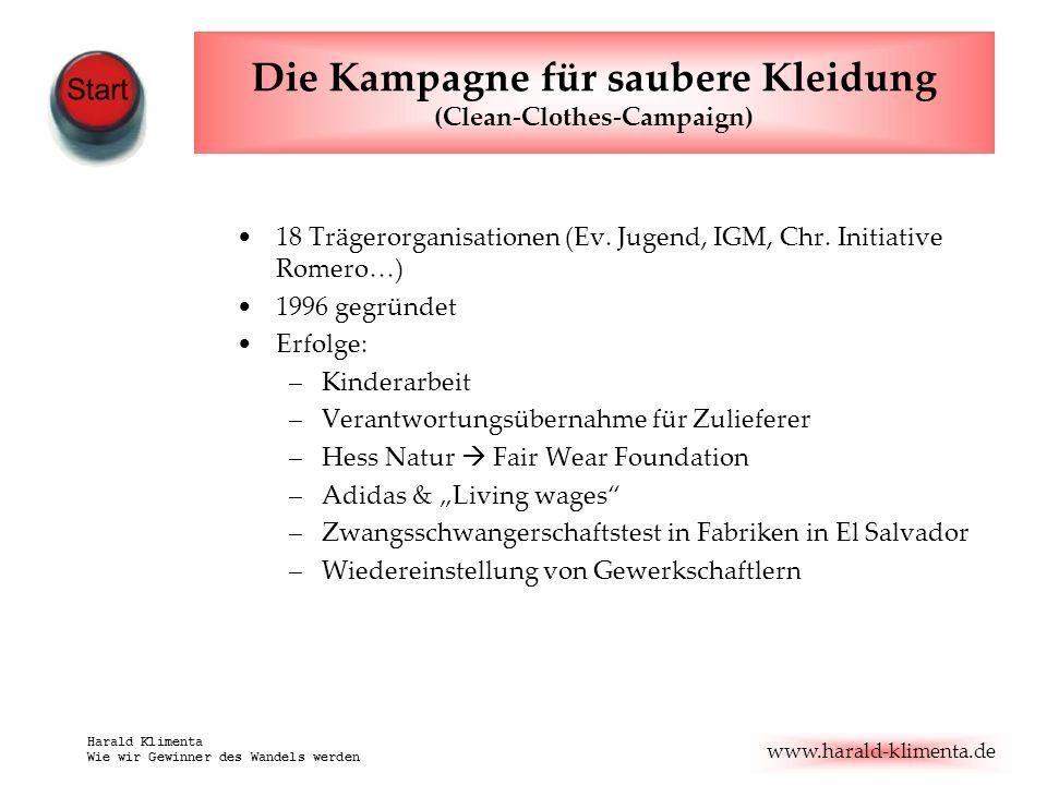 www.harald-klimenta.de Harald Klimenta Wie wir Gewinner des Wandels werden Die Kampagne für saubere Kleidung (Clean-Clothes-Campaign) 18 Trägerorganis