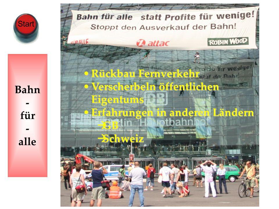 www.harald-klimenta.de Harald Klimenta Wie wir Gewinner des Wandels werden Bahn - für - alle Rückbau FernverkehrRückbau Fernverkehr Verscherbeln öffen