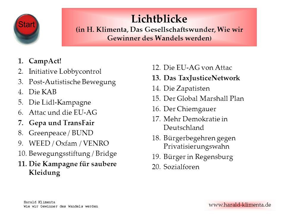 www.harald-klimenta.de Harald Klimenta Wie wir Gewinner des Wandels werden Lichtblicke (in H. Klimenta, Das Gesellschaftswunder, Wie wir Gewinner des
