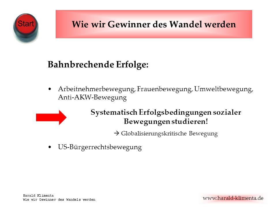 www.harald-klimenta.de Harald Klimenta Wie wir Gewinner des Wandels werden Bahnbrechende Erfolge: Arbeitnehmerbewegung, Frauenbewegung, Umweltbewegung