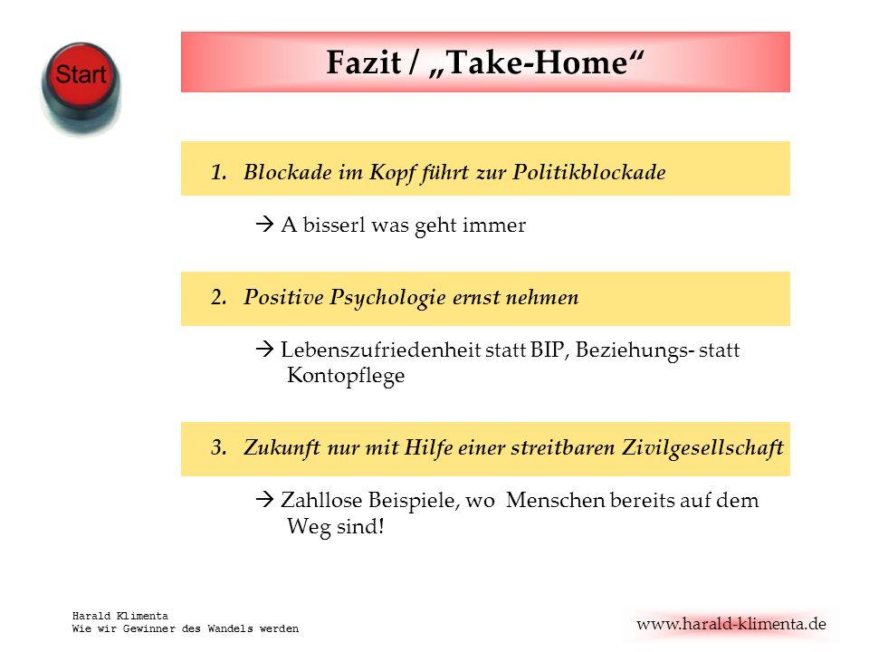 www.harald-klimenta.de Harald Klimenta Wie wir Gewinner des Wandels werden Fazit / Take-Home 1.Blockade im Kopf führt zur Politikblockade A bisserl wa