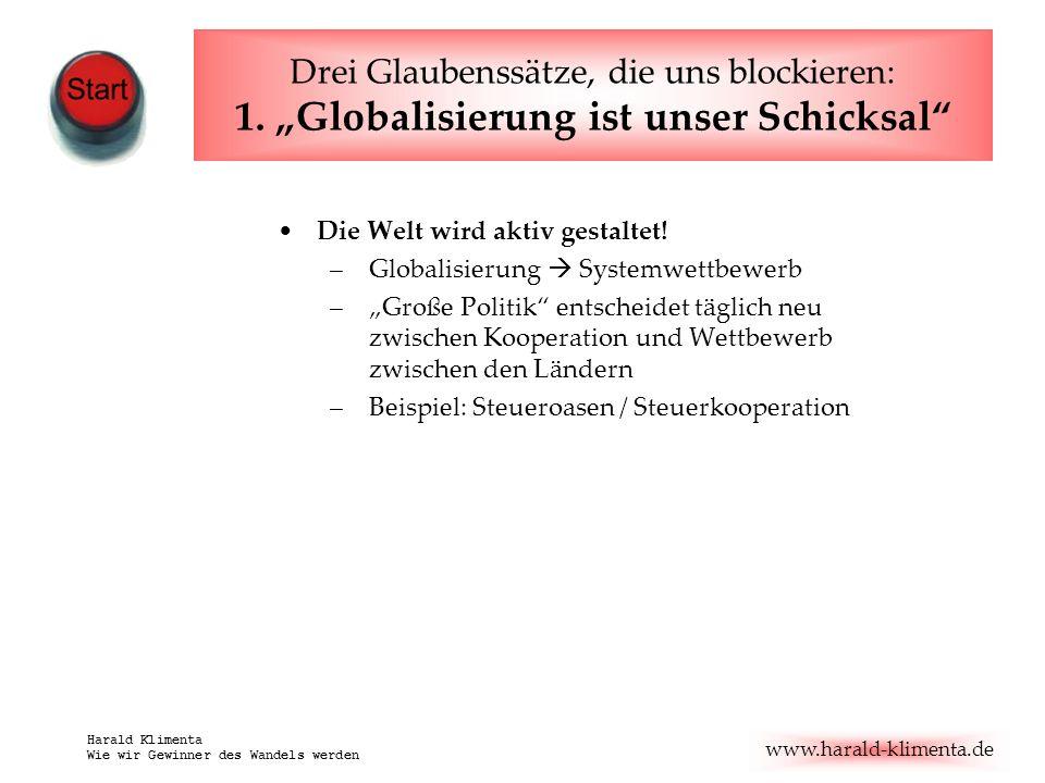 www.harald-klimenta.de Harald Klimenta Wie wir Gewinner des Wandels werden Drei Glaubenssätze, die uns blockieren: 1. Globalisierung ist unser Schicks