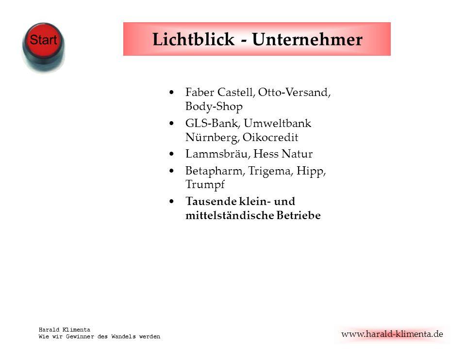 www.harald-klimenta.de Harald Klimenta Wie wir Gewinner des Wandels werden Lichtblick - Unternehmer Faber Castell, Otto-Versand, Body-Shop GLS-Bank, U