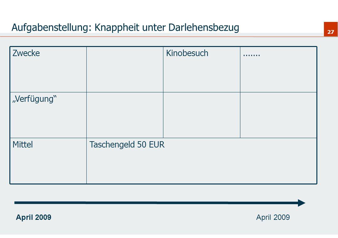27 Aufgabenstellung: Knappheit unter Darlehensbezug Taschengeld 50 EURMittel Verfügung.......KinobesuchZweckeApril 2009