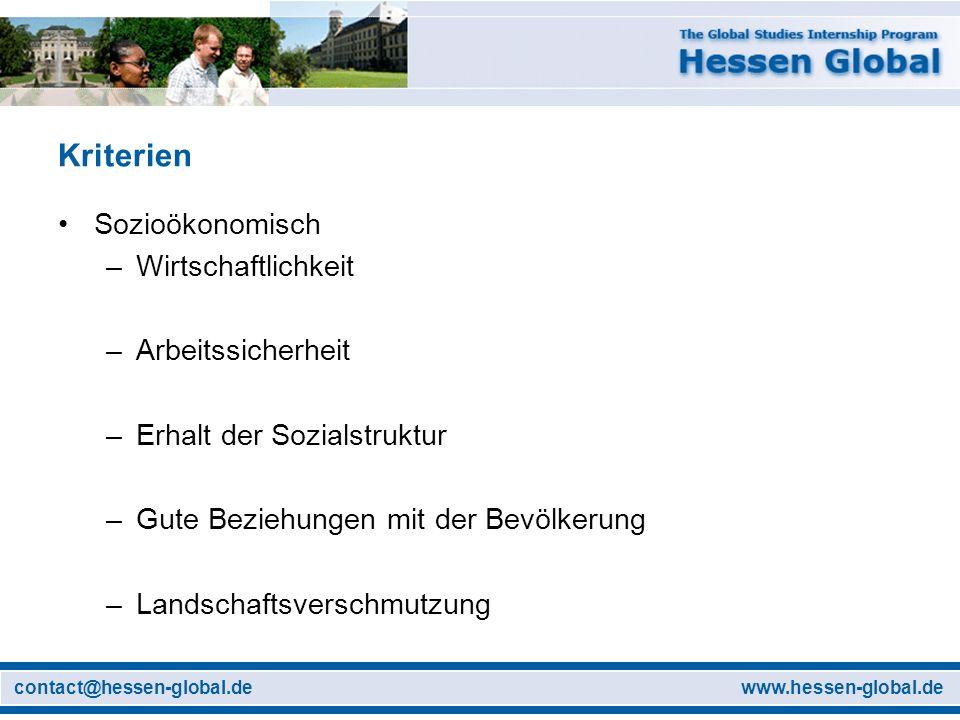 www.hessen-global.decontact@hessen-global.de Kriterien Sozioökonomisch –Wirtschaftlichkeit –Arbeitssicherheit –Erhalt der Sozialstruktur –Gute Beziehu