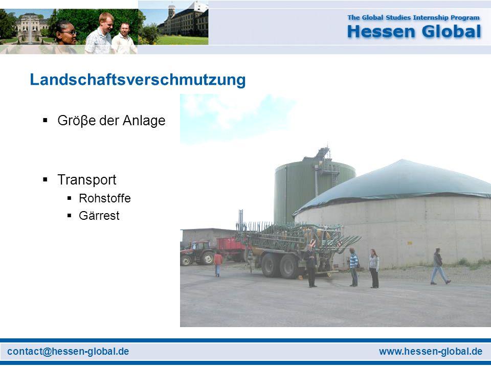 www.hessen-global.decontact@hessen-global.de Landschaftsverschmutzung Gröβe der Anlage Transport Rohstoffe Gärrest