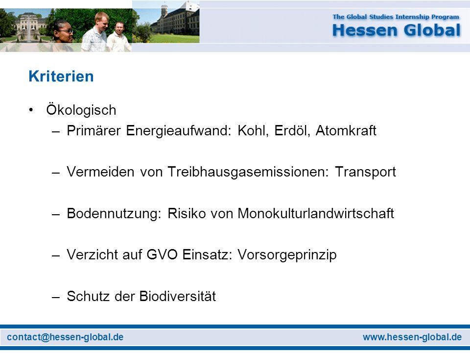 www.hessen-global.decontact@hessen-global.de Kriterien Ökologisch –Primärer Energieaufwand: Kohl, Erdöl, Atomkraft –Vermeiden von Treibhausgasemission