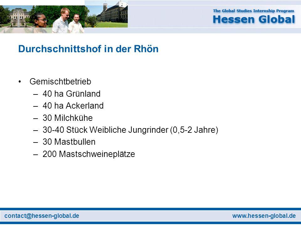 www.hessen-global.decontact@hessen-global.de Durchschnittshof in der Rhön Gemischtbetrieb –40 ha Grünland –40 ha Ackerland –30 Milchkühe –30-40 Stück