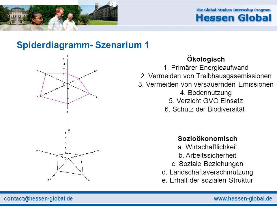 www.hessen-global.decontact@hessen-global.de Spiderdiagramm- Szenarium 1 Ökologisch 1. Primärer Energieaufwand 2. Vermeiden von Treibhausgasemissionen