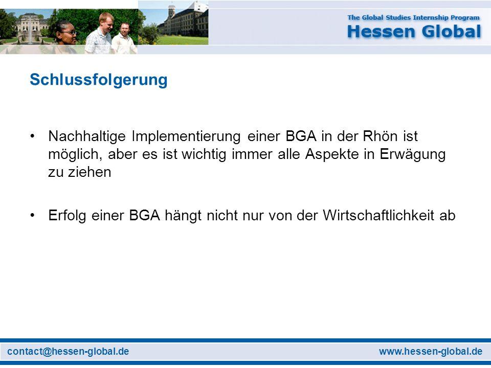 www.hessen-global.decontact@hessen-global.de Schlussfolgerung Nachhaltige Implementierung einer BGA in der Rhön ist möglich, aber es ist wichtig immer