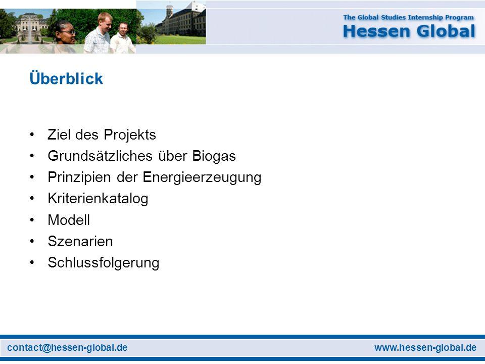 www.hessen-global.decontact@hessen-global.de Überblick Ziel des Projekts Grundsätzliches über Biogas Prinzipien der Energieerzeugung Kriterienkatalog