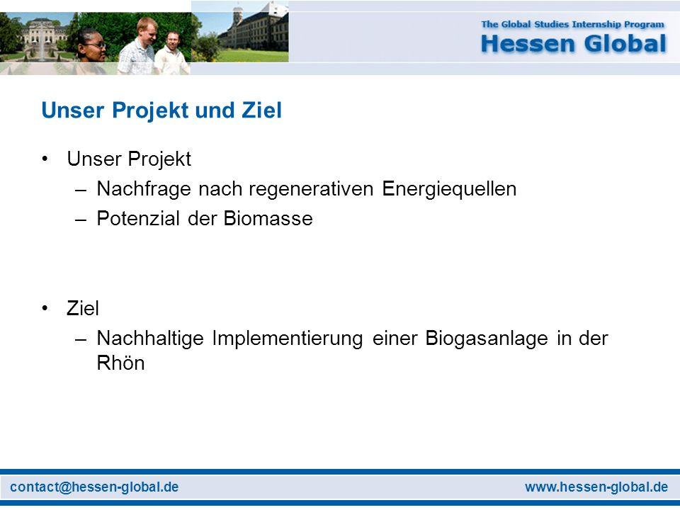 www.hessen-global.decontact@hessen-global.de Unser Projekt und Ziel Unser Projekt –Nachfrage nach regenerativen Energiequellen –Potenzial der Biomasse