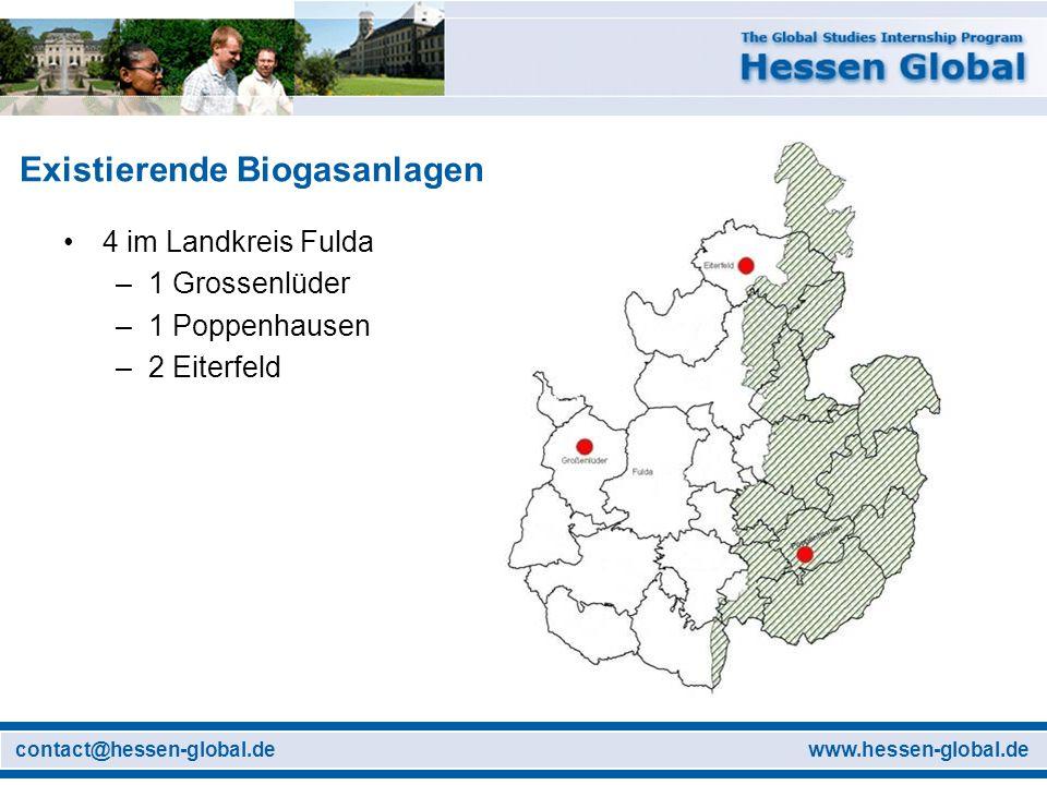 www.hessen-global.decontact@hessen-global.de Existierende Biogasanlagen 4 im Landkreis Fulda –1 Grossenlüder –1 Poppenhausen –2 Eiterfeld