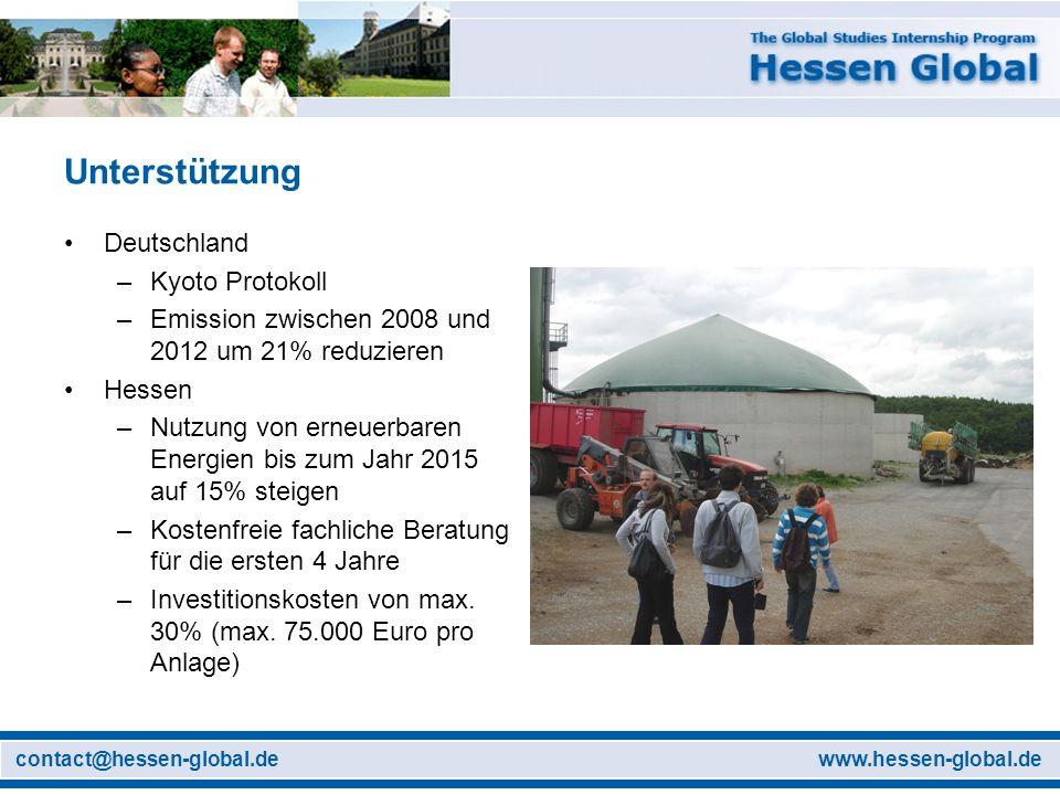 www.hessen-global.decontact@hessen-global.de Unterstützung Deutschland –Kyoto Protokoll –Emission zwischen 2008 und 2012 um 21% reduzieren Hessen –Nut