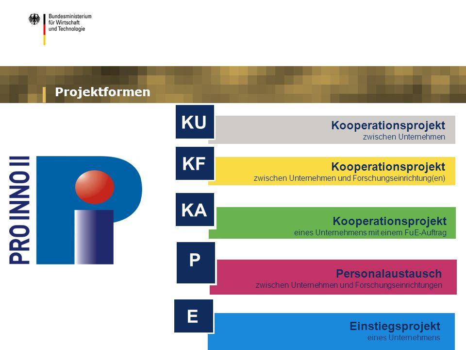 Projektformen Kooperationsprojekt zwischen Unternehmen und Forschungseinrichtung(en) KF Personalaustausch zwischen Unternehmen und Forschungseinrichtungen P Kooperationsprojekt zwischen Unternehmen KU Kooperationsprojekt eines Unternehmens mit einem FuE-Auftrag KA Einstiegsprojekt eines Unternehmens E