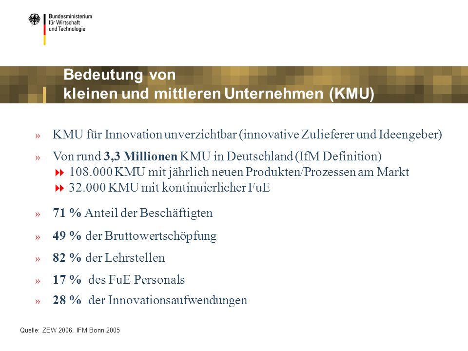 » KMU für Innovation unverzichtbar (innovative Zulieferer und Ideengeber) » Von rund 3,3 Millionen KMU in Deutschland (IfM Definition) 108.000 KMU mit jährlich neuen Produkten/Prozessen am Markt 32.000 KMU mit kontinuierlicher FuE » 71 % Anteil der Beschäftigten » 49 % der Bruttowertschöpfung » 82 % der Lehrstellen » 17 % des FuE Personals » 28 % der Innovationsaufwendungen Bedeutung von kleinen und mittleren Unternehmen (KMU) Quelle: ZEW 2006, IFM Bonn 2005