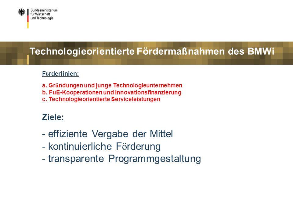 F ö rderlinien: a. Gr ü ndungen und junge Technologieunternehmen b. FuE-Kooperationen und Innovationsfinanzierung c. Technologieorientierte Servicelei
