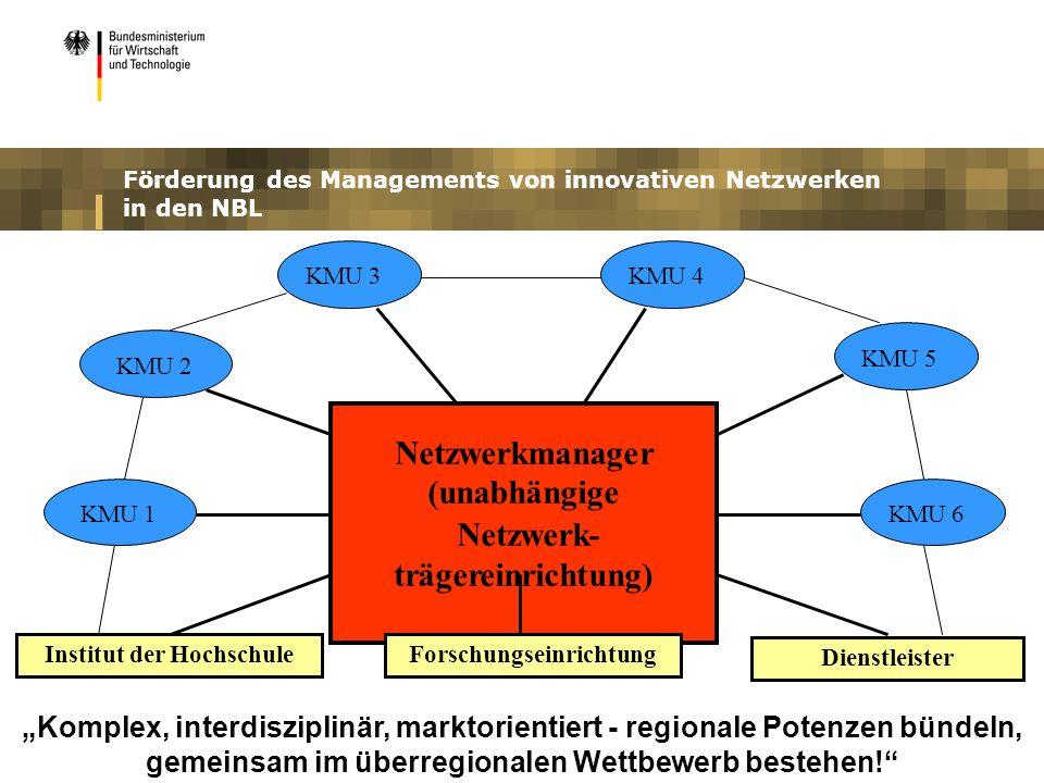 Förderung des Managements von innovativen Netzwerken in den NBL Netzwerkmanager (unabhängige Netzwerk- trägereinrichtung) Institut der Hochschule Forschungseinrichtung KMU 2 KMU 3KMU 4 KMU 5 KMU 6KMU 1 Dienstleister Komplex, interdisziplinär, marktorientiert - regionale Potenzen bündeln, gemeinsam im überregionalen Wettbewerb bestehen!