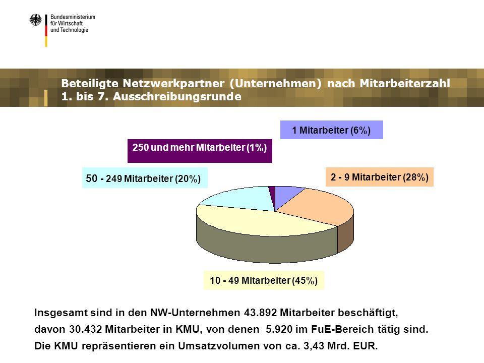 Beteiligte Netzwerkpartner (Unternehmen) nach Mitarbeiterzahl 1. bis 7. Ausschreibungsrunde 250 und mehr Mitarbeiter (1%) 50 - 249 Mitarbeiter (20%) 1