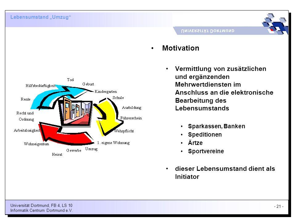 - 21 - Universität Dortmund, FB 4, LS 10 Informatik Centrum Dortmund e.V.