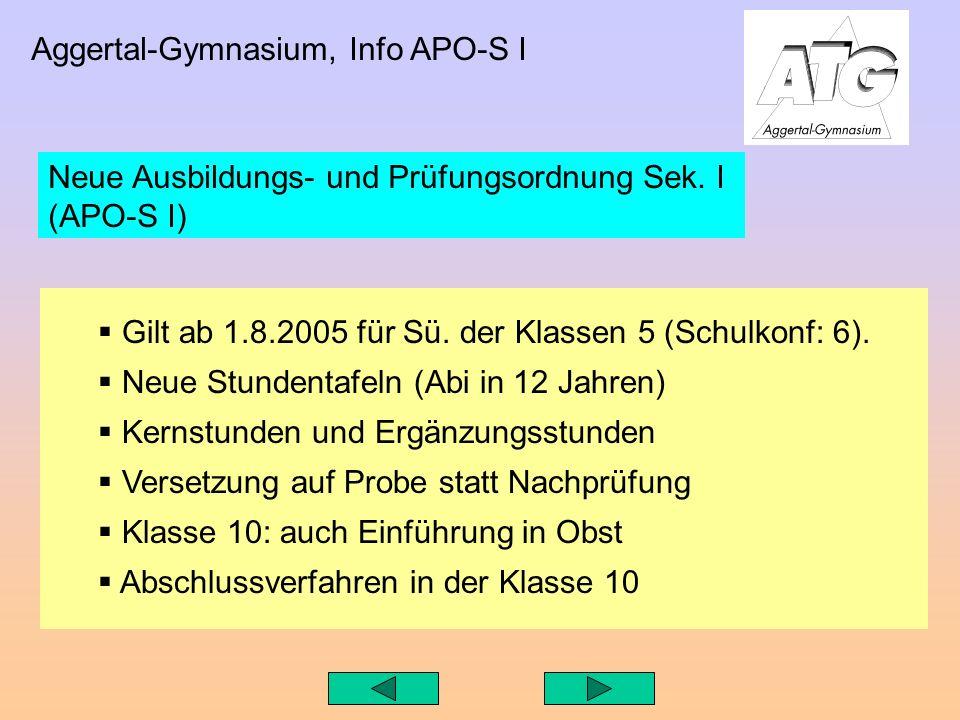 Aggertal-Gymnasium, Info APO-S I Gilt ab 1.8.2005 für Sü.
