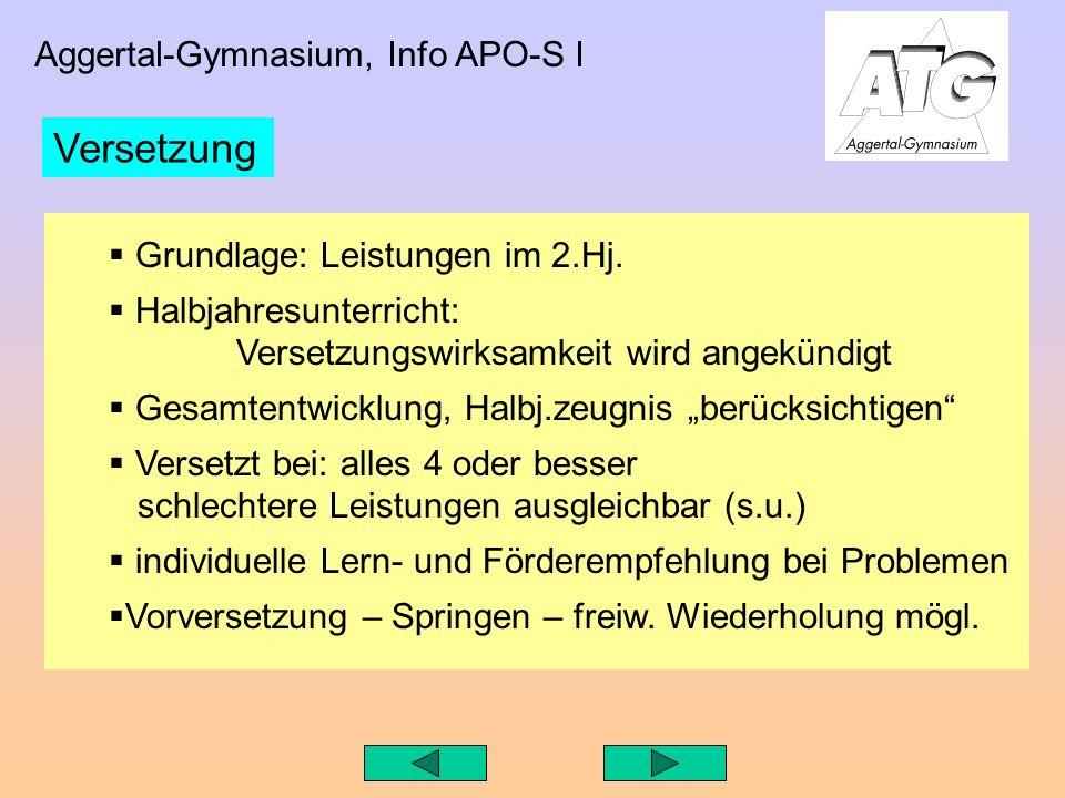Aggertal-Gymnasium, Info APO-S I Grundlage: Leistungen im 2.Hj.