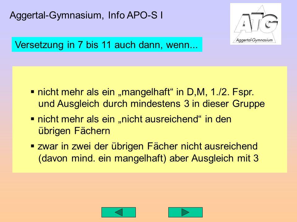 Aggertal-Gymnasium, Info APO-S I nicht mehr als ein mangelhaft in D,M, 1./2.
