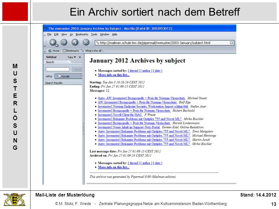 © M. Stütz, F. Wrede - Zentrale Planungsgruppe Netze am Kultusministerium Baden-Württemberg MUSTERLÖSUNGMUSTERLÖSUNG Stand: 14.4.2012 13 Mail-Liste de
