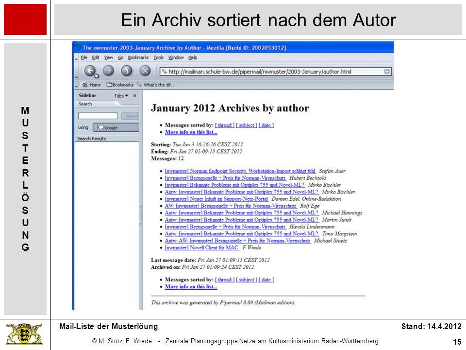 © M. Stütz, F. Wrede - Zentrale Planungsgruppe Netze am Kultusministerium Baden-Württemberg MUSTERLÖSUNGMUSTERLÖSUNG Stand: 14.4.2012 15 Mail-Liste de