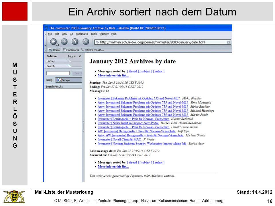 © M. Stütz, F. Wrede - Zentrale Planungsgruppe Netze am Kultusministerium Baden-Württemberg MUSTERLÖSUNGMUSTERLÖSUNG Stand: 14.4.2012 16 Mail-Liste de