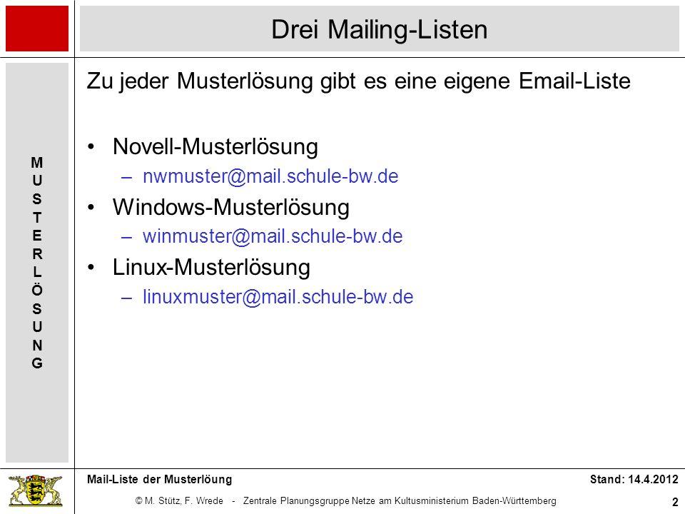 © M. Stütz, F. Wrede - Zentrale Planungsgruppe Netze am Kultusministerium Baden-Württemberg MUSTERLÖSUNGMUSTERLÖSUNG Stand: 14.4.2012 2 Mail-Liste der